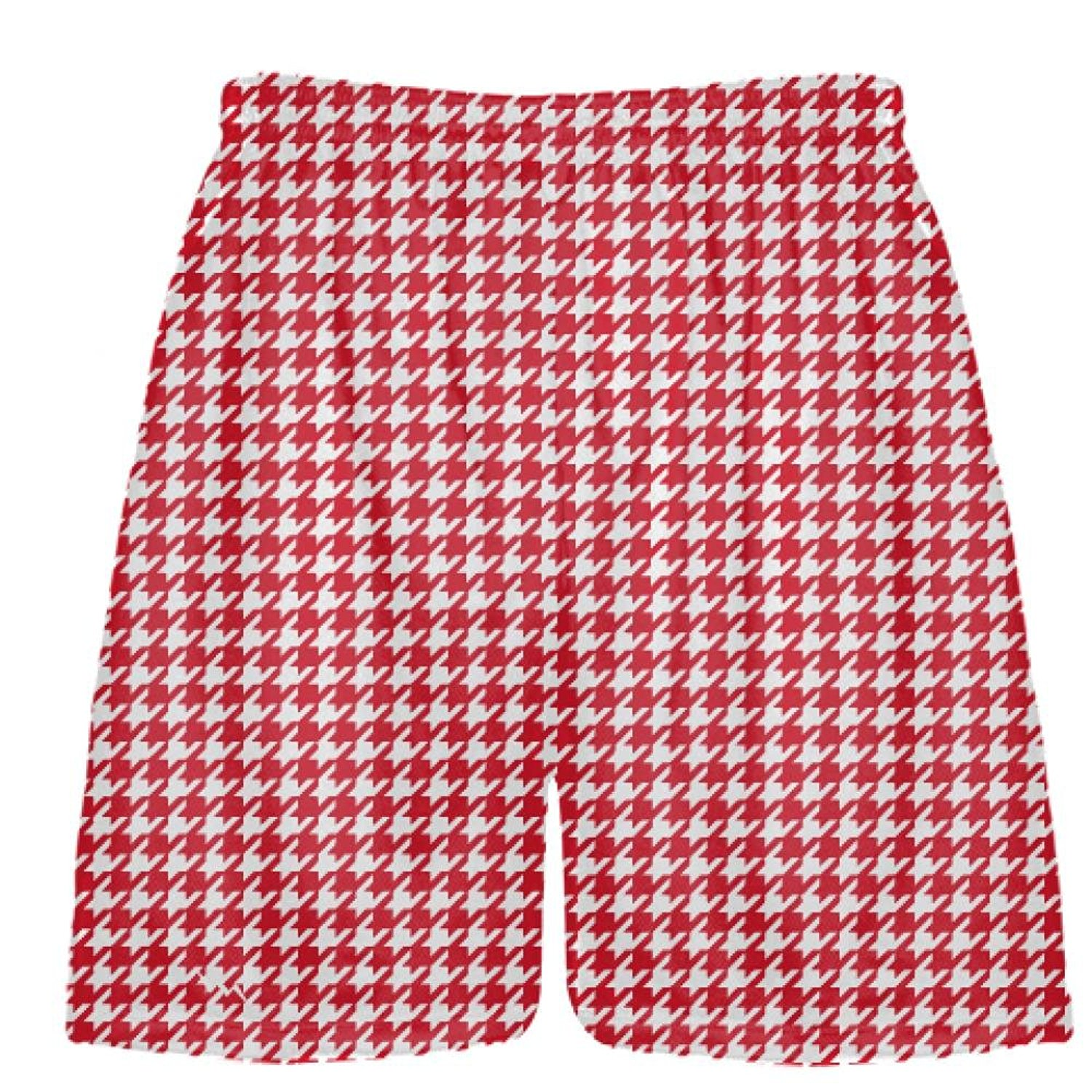 d429f112d8 Get Quotations · LightningWear Red Houndstooth Shorts - Sublimated Shorts -  Red White Custom Shorts - Sublimated Athletic Shorts
