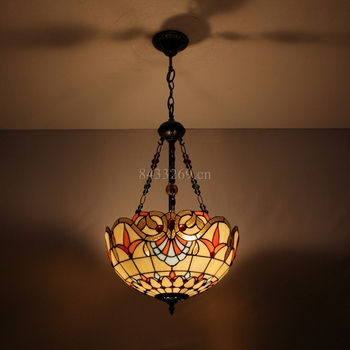 16inch decorative vintage glass pendent lamp with tiffany style for home lamp