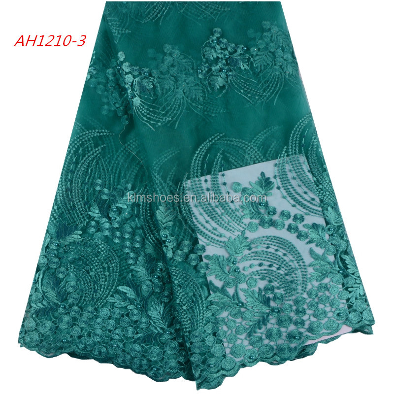 African Net Lace Fabrics High Quality 2018 Green Tulle Lace Fabric Nigerian Lace For Woman 1009