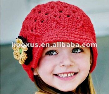 18fced18ffa babys  Caps crochet hat with flower baby crochet hats infant beanie Kid  knitted Cap