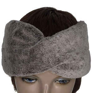 Custom Design Cold Weather Luxury Bow Trimming Faux Fur Winter Head Wrap For Ladies