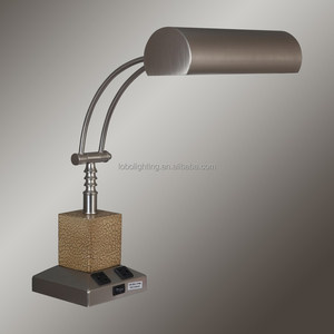 Satin Nickel/Crackle Cube Table Lamp with on/off rocker switch base and two outlets GU24 socket