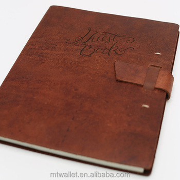 Vintage Leather Wedding Guest Book