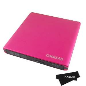 COOLEAD-External USB 3.0 Aluminum Blu-Ray Combo DVD-RW Writer Burner Optical Drive - Red (Blu-Ray software is not included)