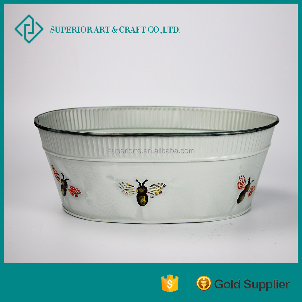 Decorative White Artistic Iron Seed Planter With Bees For Garden Tools