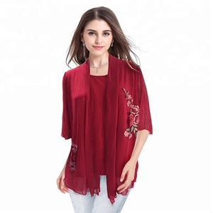 Women Chiffon Half-Sleeve Tunic Blouse and Tops