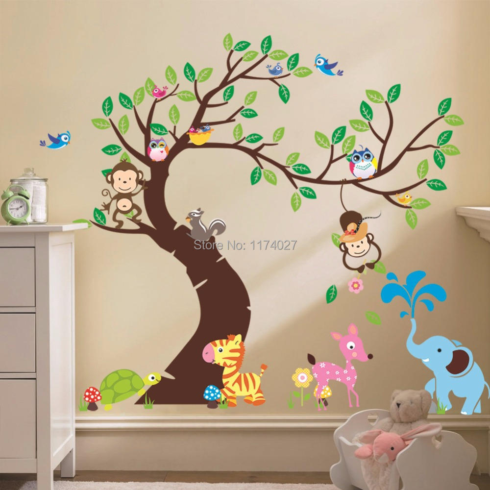 Free shipping momkey owl elephant bird zebra zoo wall stickers home decor Art decals for Kids Room Decoration Removable