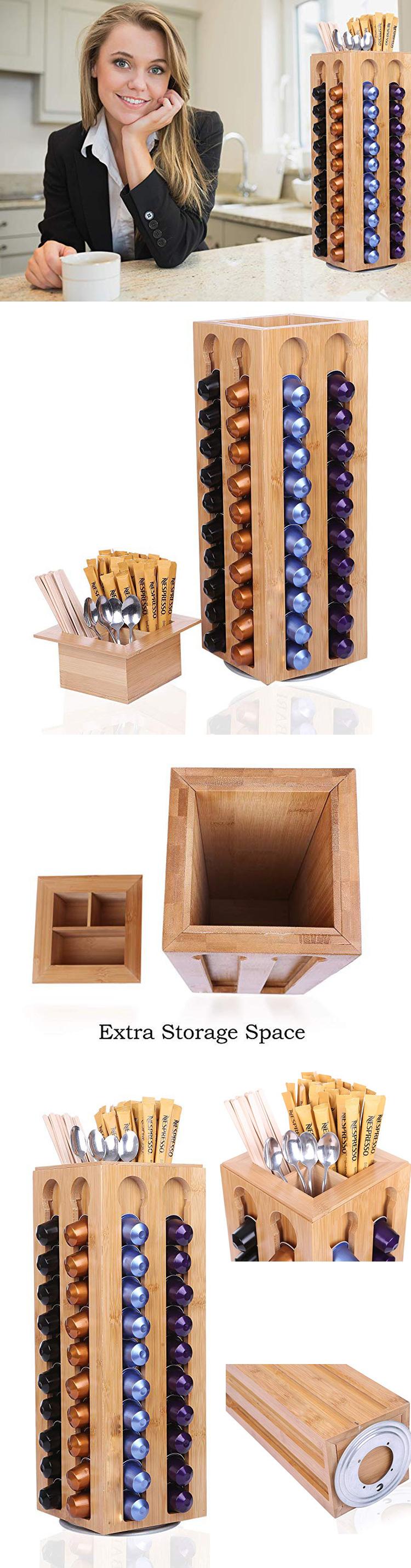 Bamboo Coffee Capsules Pod Holder Carousel Holds Coffee Capsules Storage Organizer