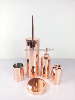Rose Gold Bathroom Accessory Set Stainless Steel Plating Golden