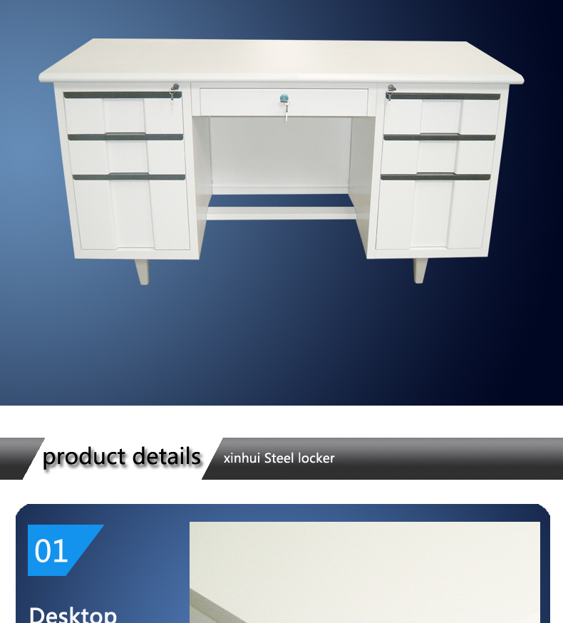 Customized Mdf Top Office Desk Design Steel Modern School Teacher Computer Table