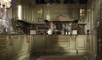 Vitoria Clic Style Wooden Kitchen Furniture Exquisite Solid Wood Carved Cabinet Le Design