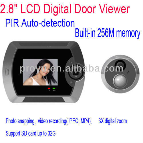 Motion Detection 2.8 inch Digital Door Peephole Viewer With Video Camera & Clear Night Vision PY-V516