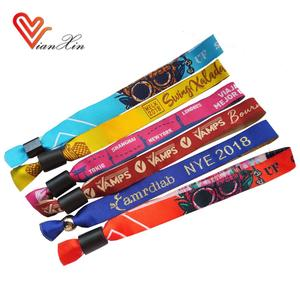 Custom cheap festival fabric woven cloth wristbands for event