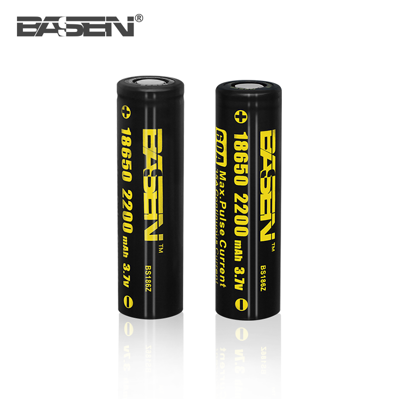 Alibaba best sellers BASEN 18650 2200mah 3.7v lithium battery packs 60A for mechanical mod