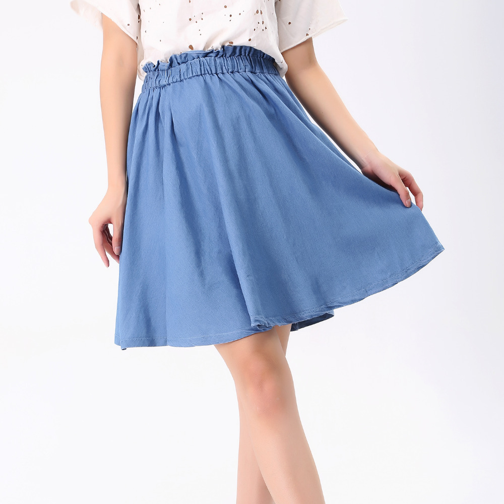 06ade3f7149 Get Quotations · Woman Vintage Pleated Denim Skirts Summer Fashion 2015  Chinese Style Ruffles Slim High Waist Casual Midi