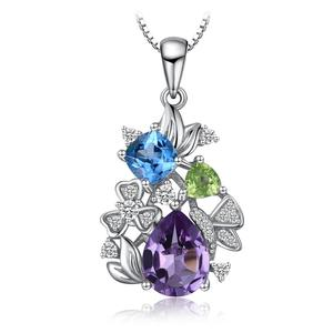 Flower 2.2 Genuine Amethyst Sky Blue Topaz Triangle Peridot Pendant 925 Sterling Silver JewelryPalace