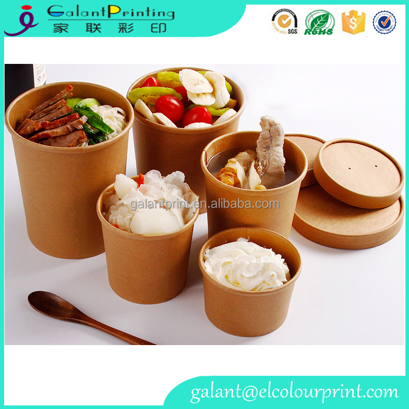 kraft food packaging,brown paper soup box,take away fast food container
