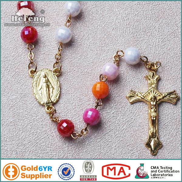 AB plated multi-color plastic bead rosary chain