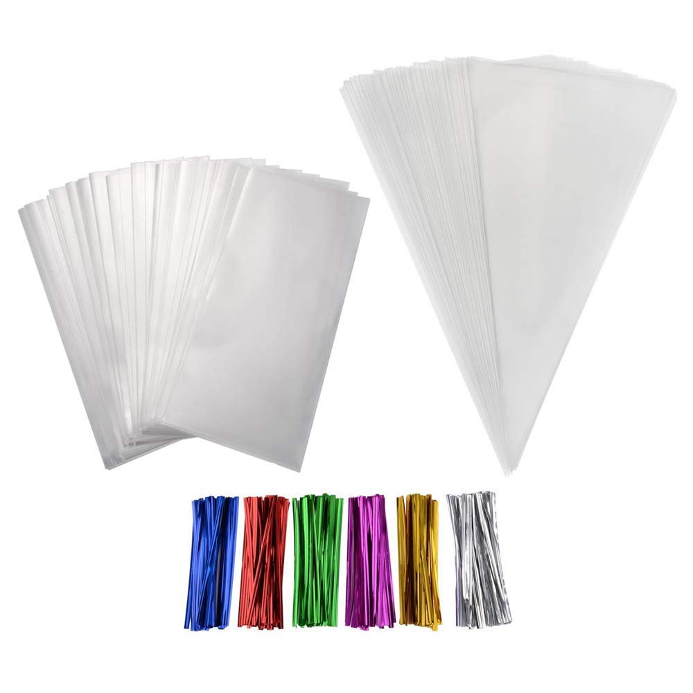 Clear Treat Bags,Simuer 200PCS Plastic OPP Cellophane Bag Party Favor with 200 Twist Ties for Bakery Cookies Candies Dessert Wedding Valentine Gifts