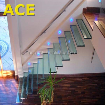 Modern Floating Glass Stairs Crystal Laminated Glass Staircase
