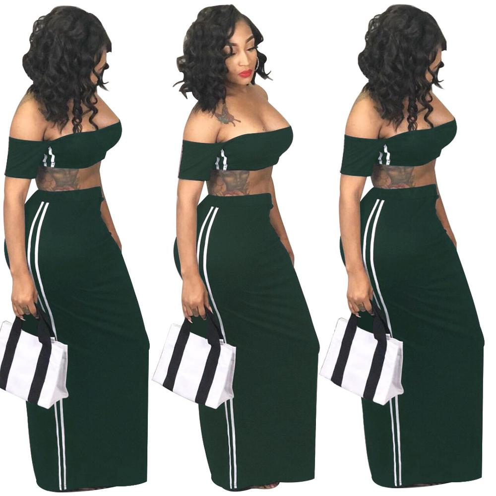 KC-SC8266 Kuchi-Global wholesale sexy crop top and long dress two pieces set women clothing
