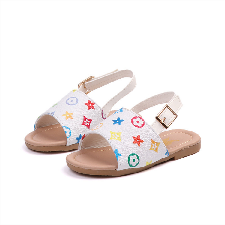 2019 Summer Korean fashion kids flat pu leather <strong>sandals</strong>
