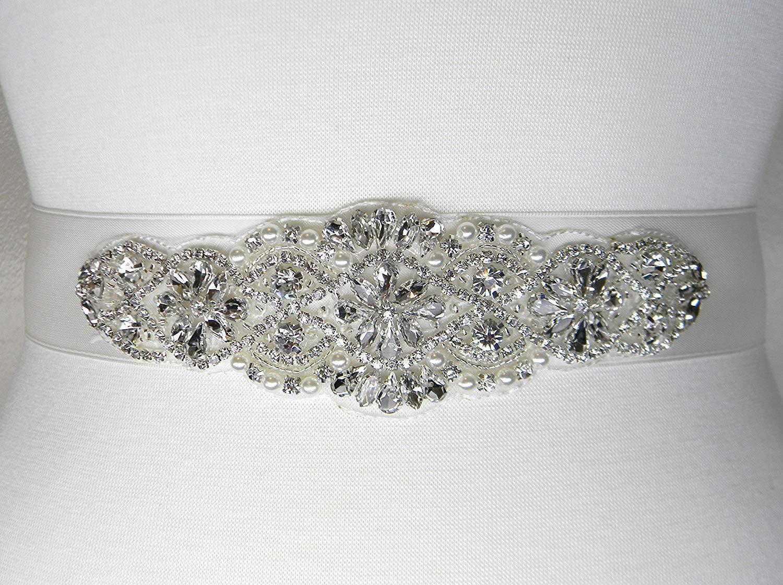 Wedding Belt, Ivory Satin Bridal Belt, Bridal Sash, Bridesmaid Belt, Flower Girl Dress Sash, Pearl and Crystal Rhinestone Wedding Sash Belt, ALEXA
