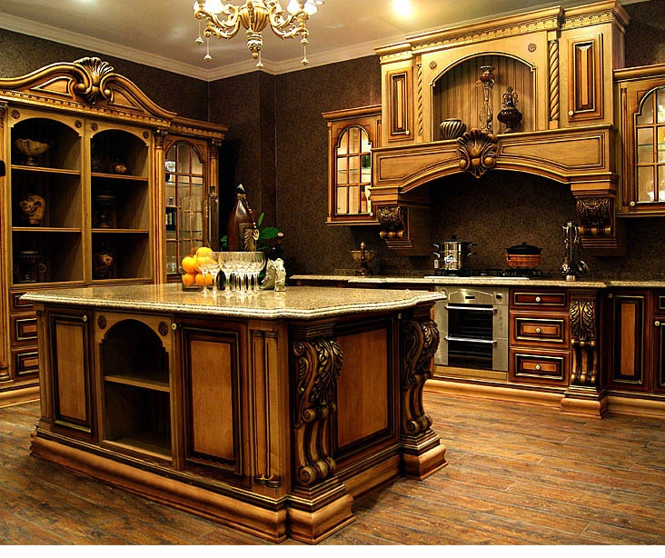 Antique cherry wood kitchen <strong>cabinet</strong> designs with evident cherry grain and gold touches