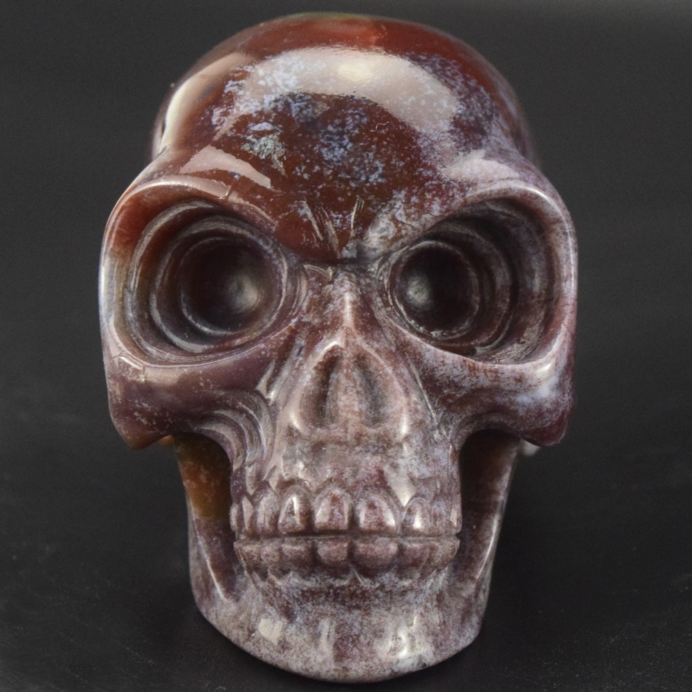 4' natural hand carved Indian agate crystal Alien skull head for gifts decor