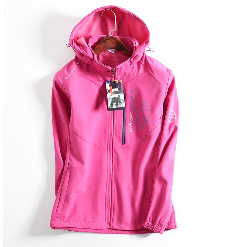 100% polyester soft shell jacket for women waterproof fleece lining sport wear