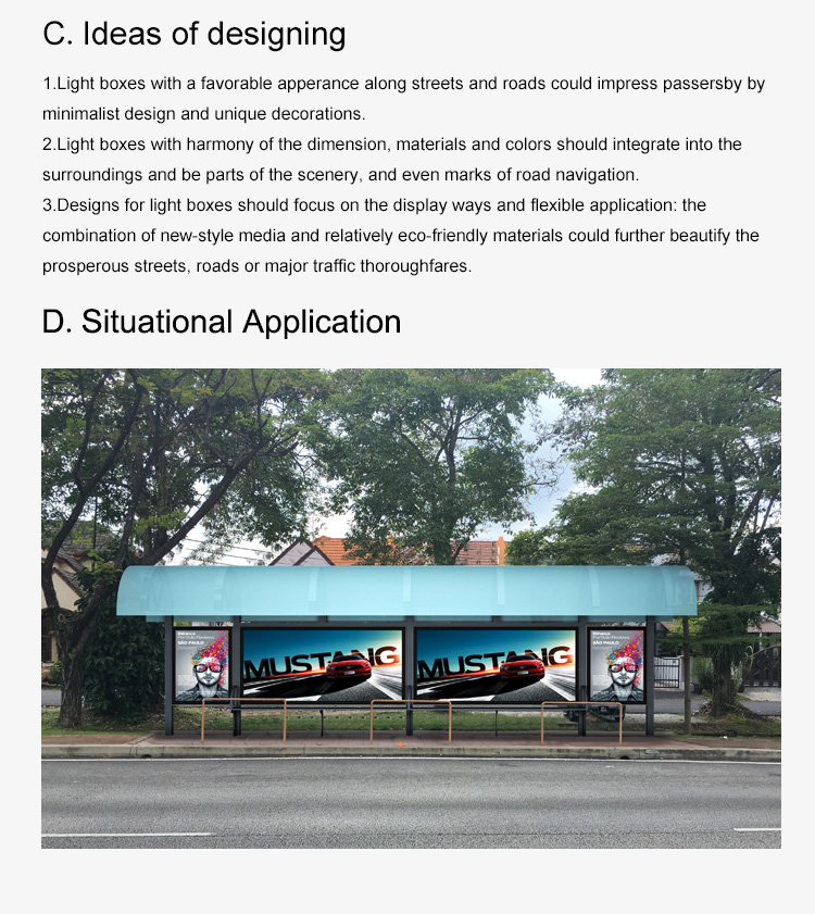 Outdoor Stainless steel Frame waterproof bus shelter Advertising LED light box