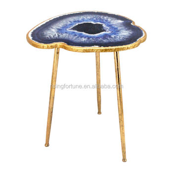 Gold Metal And Blue Agate Side Table Top Buy Agate Table