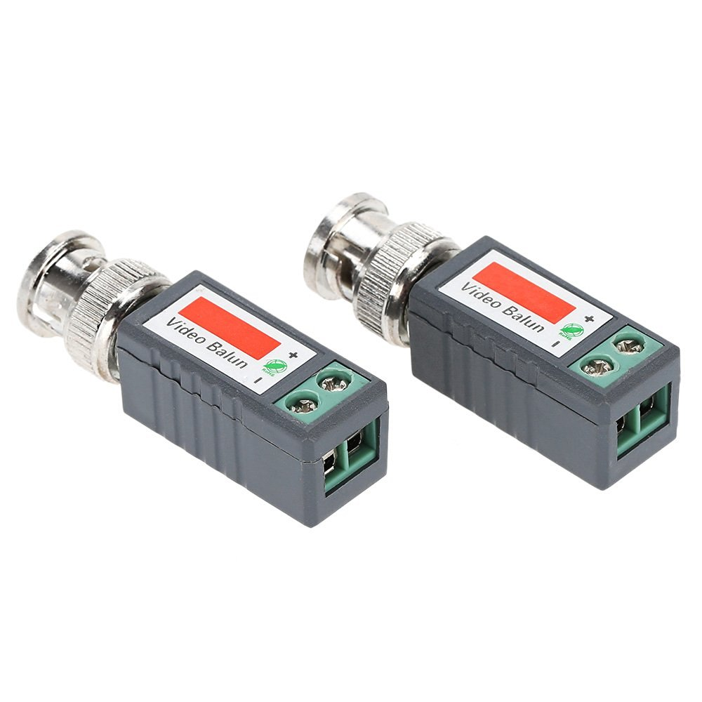 KKmoon 1 Pair (2pcs) UTP Video Balun Coax CAT5 to CCTV Camera BNC Passive Transceiver