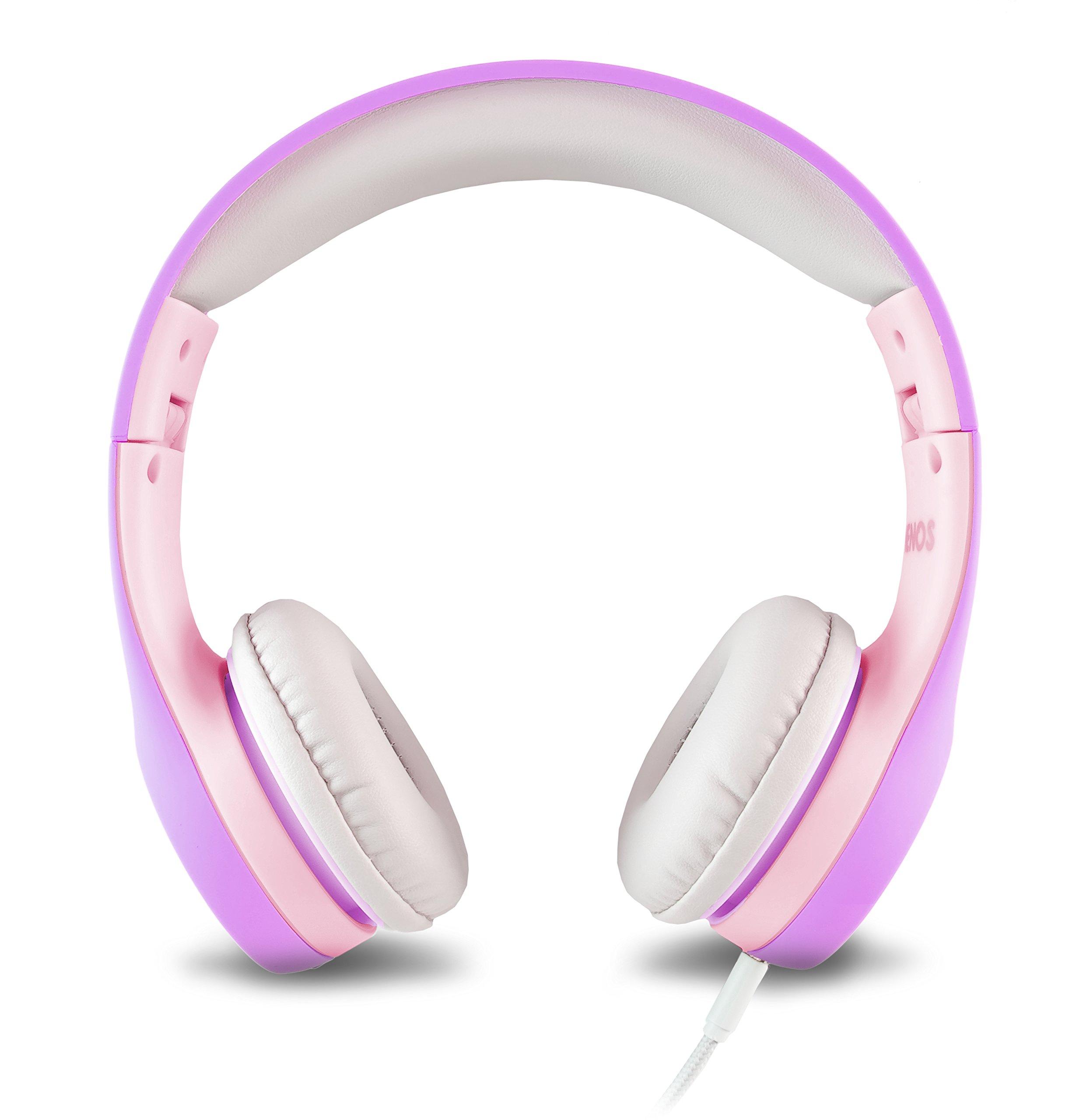 Nenos Children Headphones Kids Headphones Children's Headphones Over Ear Headphones Kids Computer Volume Limited Headphones for Kids Foldable (Lavender/Pink)