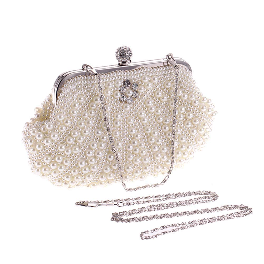 20d3984be0d5 Get Quotations · FENICAL Evening Bag Pearl Handbag Wedding Clutches Female  Party Banquet Bags for Women and Girls (