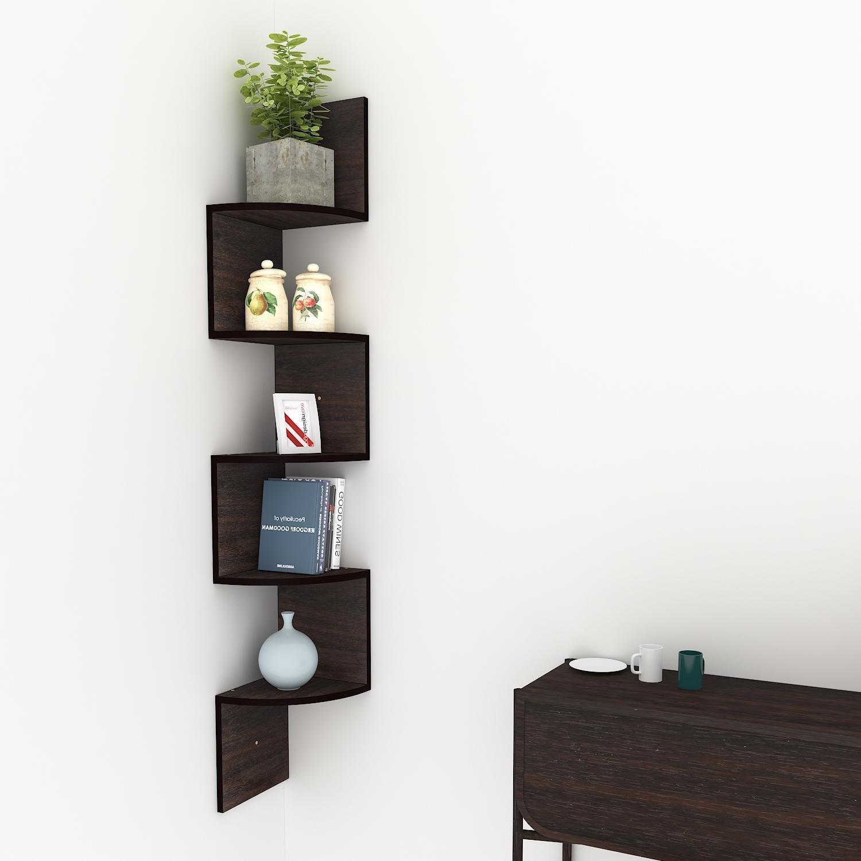 (US Stock)Hindom Home Decor 5 Tier Z Shape Corner Shelf,Wall Mount Unit Floating Wood Display Shelves Floating Storage Zig Zag Shelves (Brown)