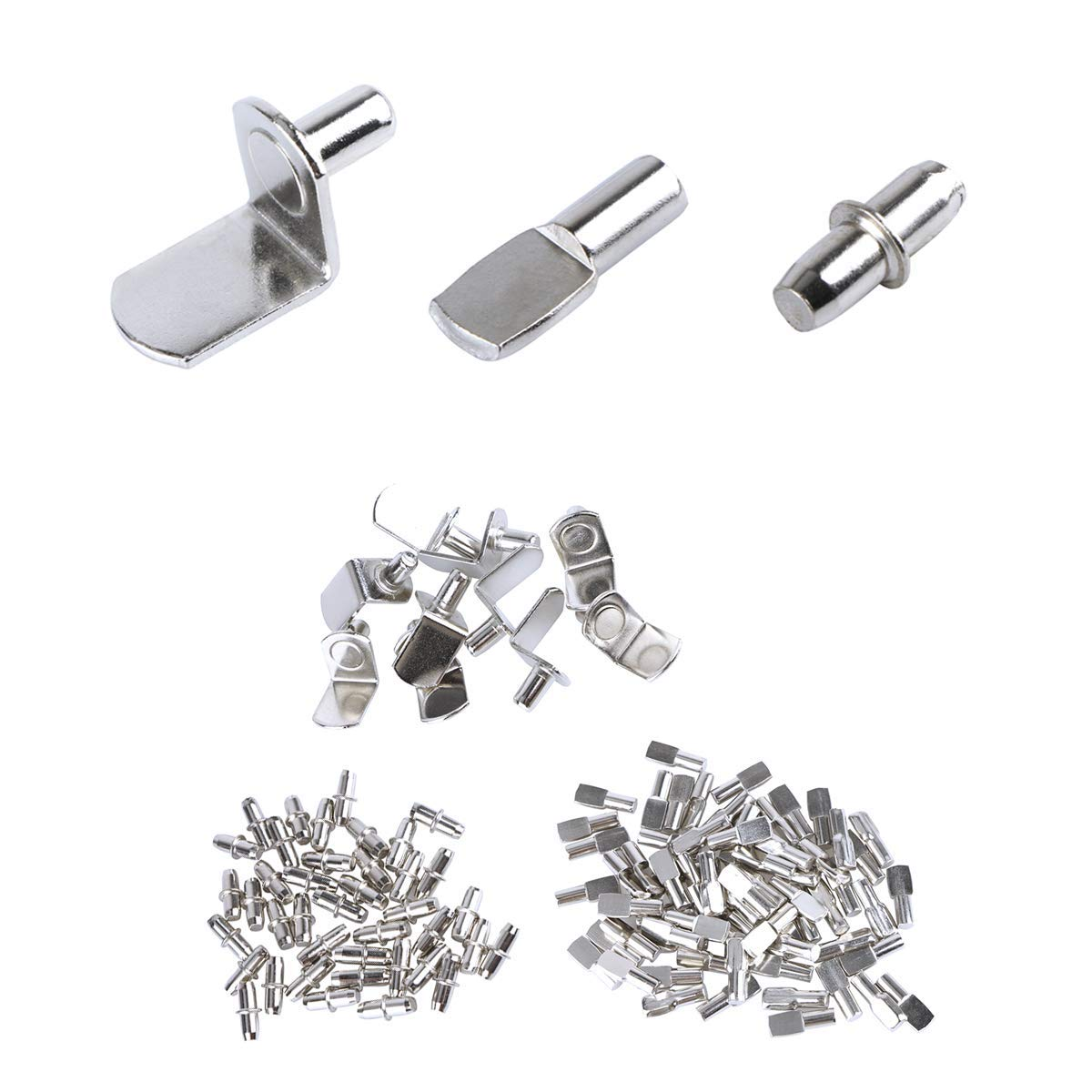 Unime 120 Pcs Shelf Bracket Pegs Stainless Steel Nickel Plated Cabinet Furniture Shelf Pins Support 3 Styles