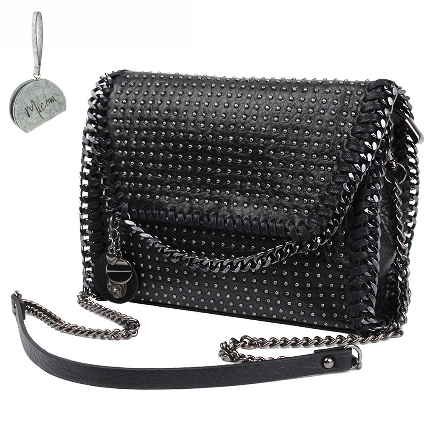 44a9e8c4c1f2 Get Quotations · Micom Punk Rivets Studded Metal Chain Pu Leather Women  Tote Shoulder Crossbody Bag with Skull Decoration