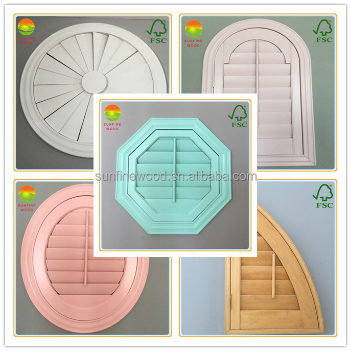 specialty shaped wooden plantation window shutter