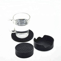 Black Silicone Coaster Set with Holder,6 Pack Furniture Protection Drink Cup Coaster for All Glasses