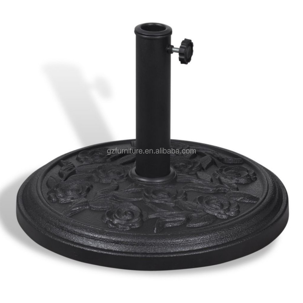 9KG black patio base flower carving design umbrella resin parasol base