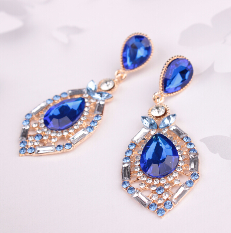 Fashion jewelery drops of precious stones earrings bursts of crystal exaggerated long earrings
