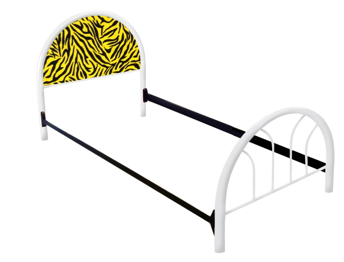 The Furniture Cove New Twin Size Custom Yellow Zebra Print Themed Bed Set! Includes Head Board, Foot Board and Mattress Rails!