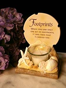 Footprints Poem Votive Holder