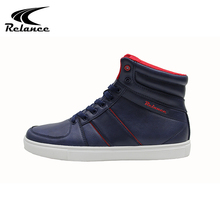 New design high neck navy pu upper casual men shoes
