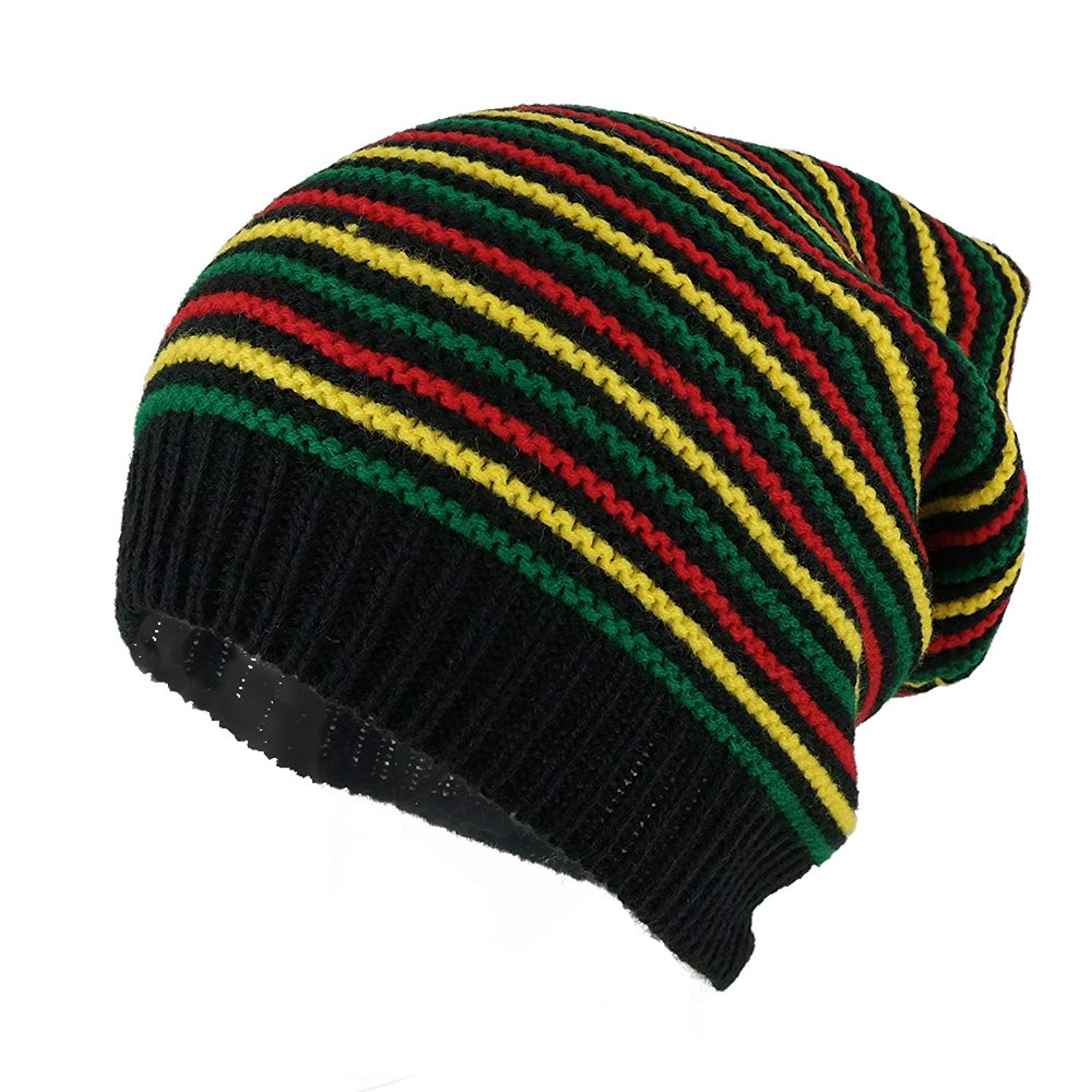 b6b8e9bf64c Get Quotations · Rasta Jamaican Crochet Colorful Stripes Baggie Slouch  Acrylic Beanie Hat