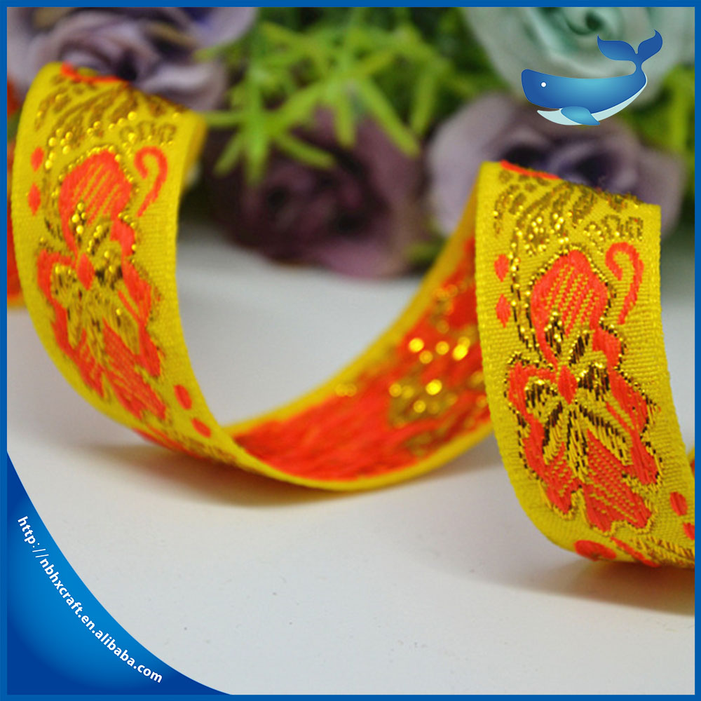 Wholesale customized ethnic style color embroidery ribbon
