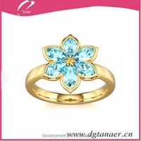New arrivel fashion Blue Zircon body piercing jewelry Blue Zircon Gold Ring