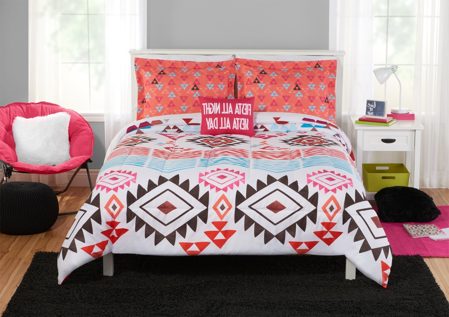 N2 4 Piece White Fiesta Mexican Pattern Comforter Full/Queen Set, Bohemian Tribal Bedding Southwest Aztec Black Orange Red Blue Triangles Native American Textiles, Reversible Solid Coral, Cotton