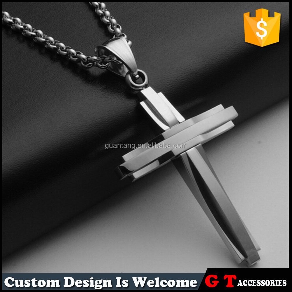 High quality 316 stainless steel cross pendant necklace for men, fashion wholesale chain necklace with cross pendant